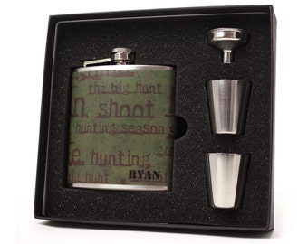 Personalized Flask // Flask for Men // Hunting Season Gift Flask