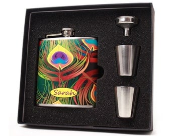 Flask with Peacock Feather Design, 6 oz Liquor Flask Gift Set