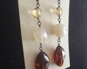 Brown yellow cream earth tone acrylic dangle drop earrings