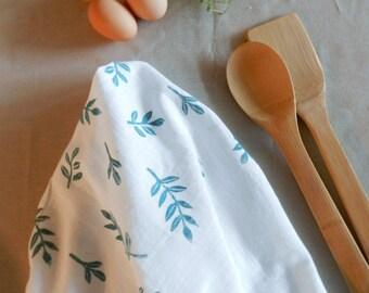 Botanical Flour Sack Dishcloth. Hand Printed Dish Towel. Modern Farmhouse. Kitchen Supplies. Housewarming. Blue  Kitchen Towels.