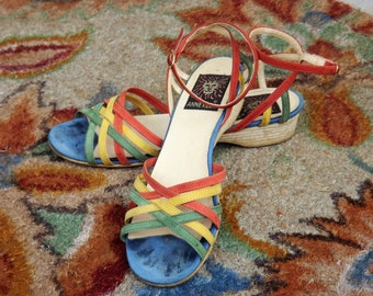 Rainbow Sandals, Anne Klein Shoes, Ankle Strap Wrap Sandals, Womens Vintage Designer Size 6 US Narrow Shoe, Wedge Shoe