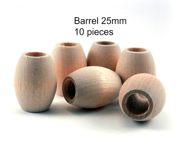 Oval Natural Wooden Barrel Beads with large holes - 25x20mm - 10 pieces