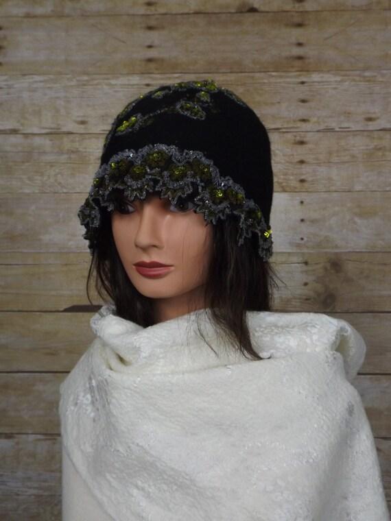 Black  nuno felted  vintage inspiring hat OOAK, wool hat, Unique designer hat