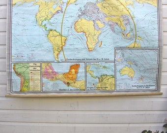 RARE large world vintage school pulldown map print poster chart classroom old cloth canvas wall hanging amazing