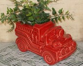 Ceramic Antique Fire Truck Planter - Vintage Design - Cranberry Red