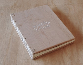 custom carved maple wood wedding guest book - wood cabin guestbook  rustic anniversary anniversary gift memorial book -made to order