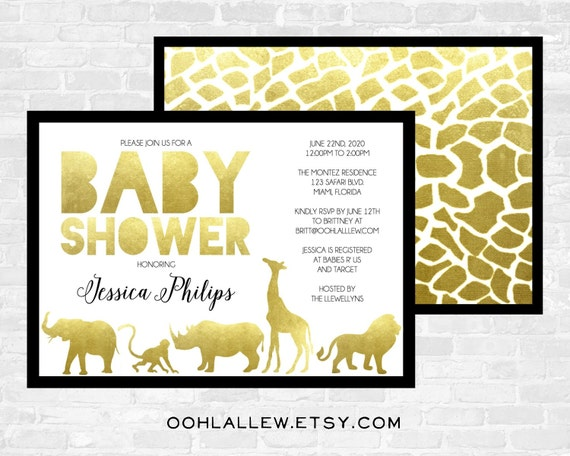 Baby Boy Gift Gold : Gold safari baby shower invitation by oohlallew on etsy