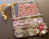Shabby Gift Tag, Hi Friend, Charming Friendship hang tag, Embellished tag with removable insert, Shabby hang tag