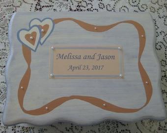 Wedding  Card Box, Personalized Hand-painted Wooden Keepsake Box,  Wedding Gift