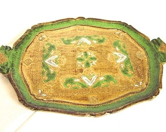 Florentine Tray Italian Hollywood Regency Gold Green Vintage Wooden Tray