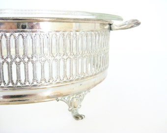 Vintage Mid Century Large Pyrex Dish and Silver Plate Footed Caddy // Serving Dish // Collectible // Casserole // Pyrex Love