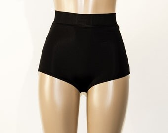 In Stock Matte Black High Waist Bikini Bottom - XS-XXL