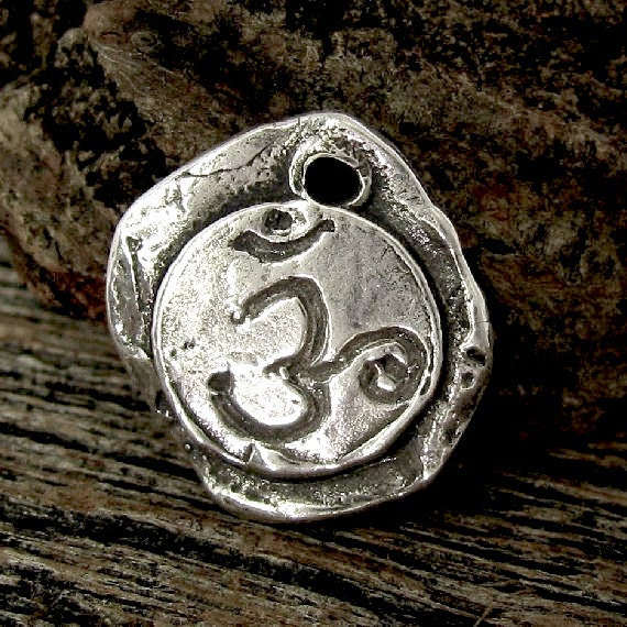 NEW - Rustic Artisan Om Charm or Pendant in Sterling Silver - Handcrafted - AC113