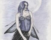 "SALE: Ghost Fairy Art Print, Original Fantasy Art, Colored Pencil Sketch, Spirit Artwork, Haunted Faeries, Gothic Fae, Goth Art ""Wraith"""