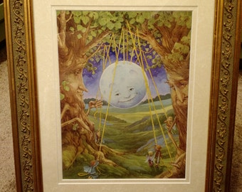 Hanging the Moon Signed  Print in an 11x14 Decorative Gold Frame