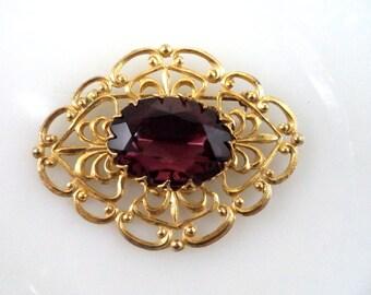 Vintage Signed Miriam Haskell Goldtone Glass Amethyst Rhinestone Brooch