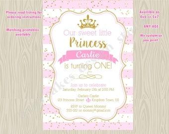 Princess Pink and Gold 1st Birthday Party Invitation Invite, Princess 1st birthday invite, confetti, digital DIY printable
