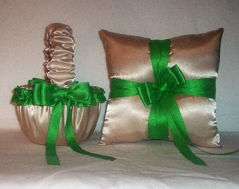 Champagne Satin With Kelly Green Trim Flower Girl Basket And Ring Bearer Pillow
