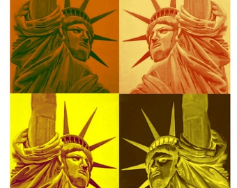 NEW YORK According to Andy Warhol, Statue of Liberty, Original Travel Poster illustration Artist Print Wall Art, Free Shipping in USA.