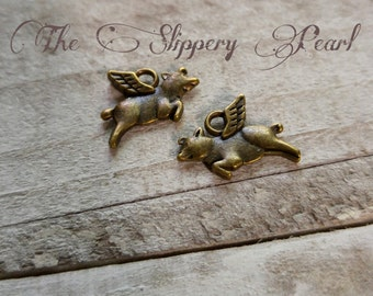 Flying Pig Charms Pig Charms Antiqued Bronze Pig 25pcs When Pigs Fly Double Sided
