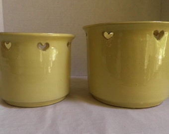 set of 2 vintage Ceramic pots / planters, pale Yellow with Heart cut-outs