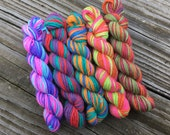 Mini Skeins 25 yds - set of 5 bright variegated
