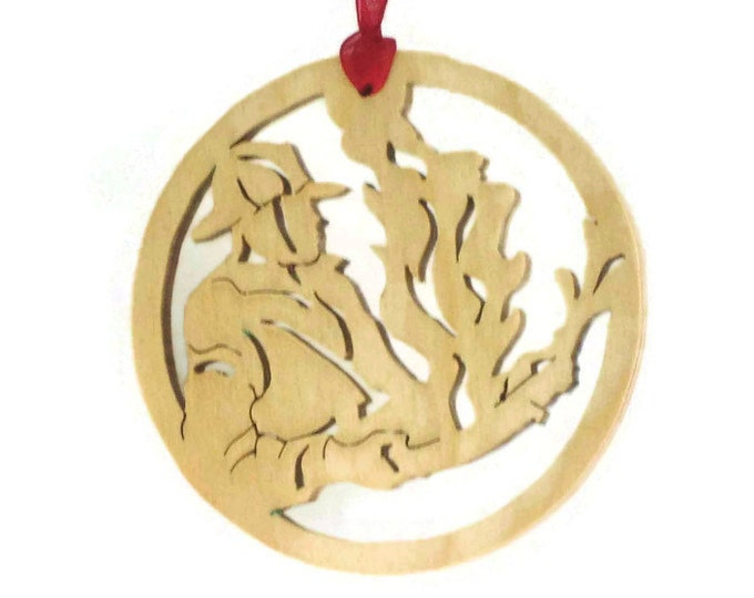 Fireman Christmas Ornament Handmade From Birch Plywood, Putting Out The Fire,