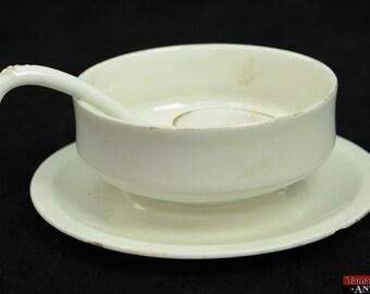 Antique Moritz Zdekauer MZ Austria Bowl Attached Under Plate Ladle Handpainted