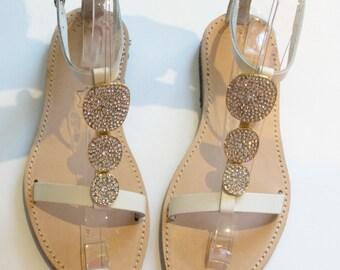 sale size 8-8.5- EU 39 White Sandals, Leather Sandals, Wedding Shoes, Wedding Sandals, Sandales mariage, bridal sandals ,