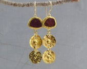 24 Karat Gold Earrings - Rough Ruby Gold Earrings - 24k Gold Earrings - Wedding Earrings - Dangle Ruby Earrings