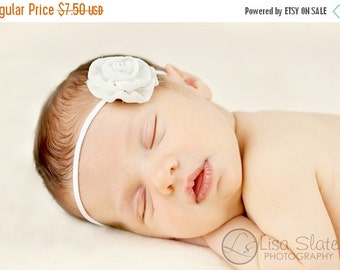 10% off SALE Newborn headband, baby headband, adult headband, photo prop The single sprinkled- Leah- stretch headband