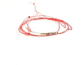 Secret Bracelet, Hand Stamped bracelet, ID bracelet, initial bracelet
