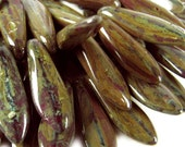 Czech Glass Beads,15mm Brown-Green Picasso Daggers ,  Qty:25