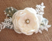 Rose and lace hair clip, ivory rose clip, bridal hairpiece, bridal clip, floral hair clip - *Vienna*