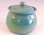 Little Stoneware Crock, Small Jar, Lidded Pot Handmade Pottery Glazed in Turquoise and Sea Foam Green