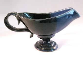 Serving Bowl / Boat for Gravy or Sauce - Country Home Cooking Handmade Pottery Glazed in Denim Jeans Blue and Black