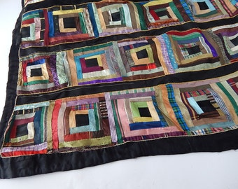Antique French Silk Quilt Very Damaged from 1800s