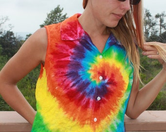Tie Dye button up shirt size M upcycled
