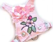 Small Dog | Dog Harness | Choke Free | Frayed Denim | Pink | Harness Vest | Frayed Pink Flower