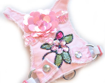 Small Dog   Dog Harness   Choke Free   Frayed Denim   Pink   Harness Vest   Frayed Pink Flower