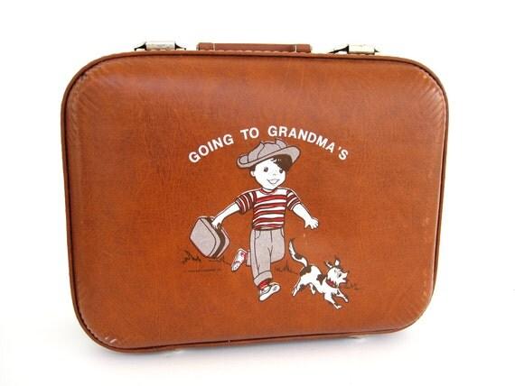 Vintage Kids Suitcase Brown Going To Grandma's Vintage