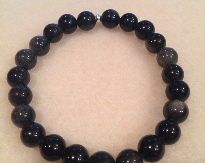 Golden Sheen Obsidian 8mm Round Stretch Bead Bracelet with Sterling Silver Accent