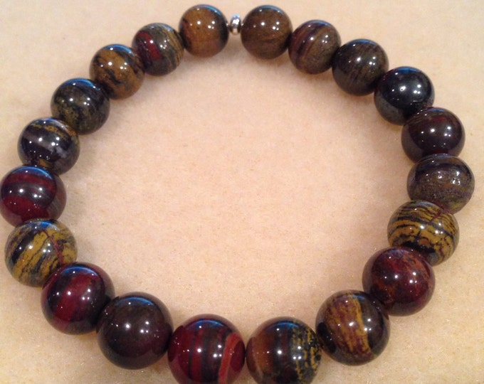 Tiger Iron 10mm Round Bead Stretch Bracelet with Sterling Silver Accent