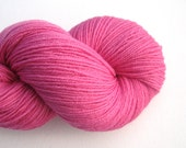 Fingering Weight Recycled Merino Wool Yarn, Strawberry Pink, Lot 071015