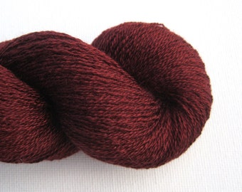 Lace Weight Silk Cashmere Recycled Yarn, Oxblood or Burgundy, Lot 131015