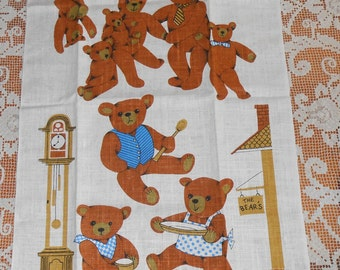 Vintage Kay Dee The Dowry Collection Linen Kitchen Tea Towel - BEARS