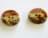 Two Oval Buttons - Earth Colors - Polymer Buttons - Art Buttons