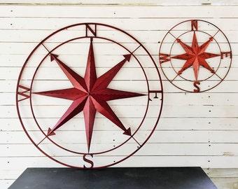 Nautical Wall Art, Metal Wall Compass, Metal Wall Art, Nautical Metal Wall Art, Red Metal Wall Compass, Exterior Art, Red Home Decor