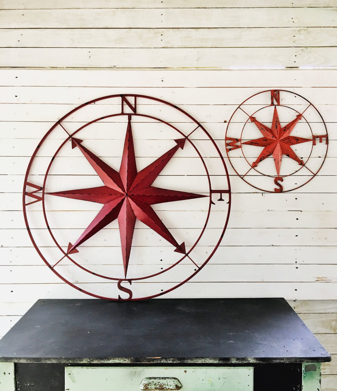 nautical wall art metal wall compass metal wall art. Black Bedroom Furniture Sets. Home Design Ideas