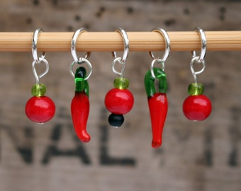 Snag Free Knitting Stitch Markers- Red Chili Peppers, Snagless Knitting Stitch Markers- Chili Peppers, Gift for Knitters, Knitting Notions